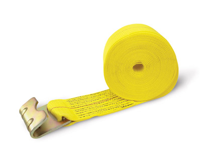Tie Down, 30′  x 4″  Truck Tie Down, Yellow Web, Flat Hook, Poly Bag