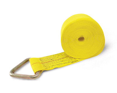 Tie Down, 30′  x 4″ Truck Tie Down,Yellow Web, Delta Ring, Poly Bag