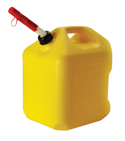 Fuel Can, 5 Gal Yellow Plastic Diesel Can