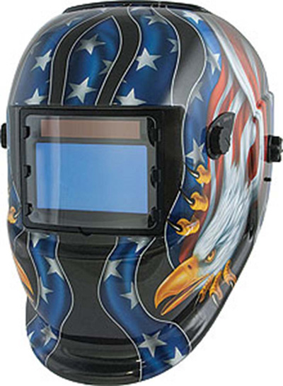 Welding Helmet, Wide-View Solar Power (Eagle/Flag)