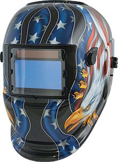 Welding Helmet, Wide-View Solar Power (Eagle/Flag)