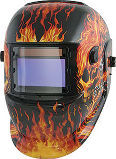 Welding Helmet, Wide-View Solar Power (Flame)