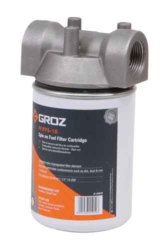 Fuel Filter, Spin On Cartridge Style with 10 micron Filter , 1″ NPT